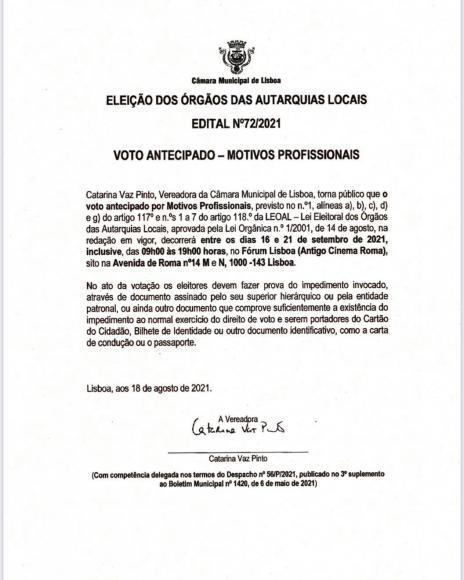EDITAL - Eleições Autárquicas 2021 -  Voto Antecipado - Motivos profissionais