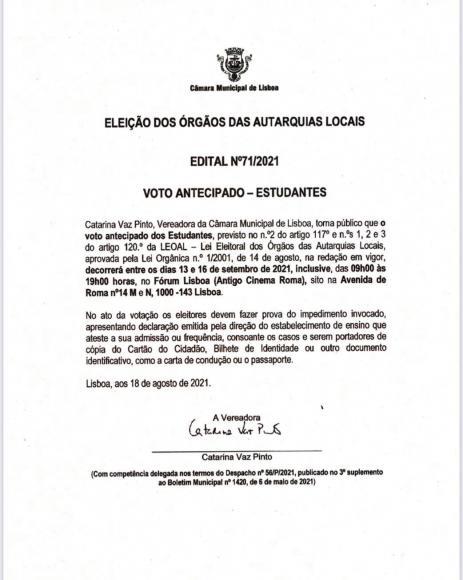 EDITAL - Eleições Autárquicas 2021 -  Voto Antecipado - Estudantes